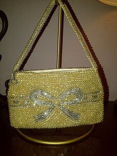 Vintage GOLD BEADED EVENING Bag