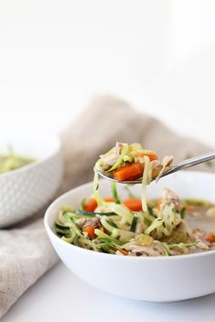 The Best Chicken Zucchini Noodle Soup, Ever! | Inspiralized.  (Bone in thighs--perfect since saving bones for Bone Broth)