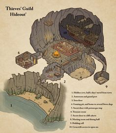 Thieves' Guide Hideout map cartography | Create your own roleplaying game material w/ RPG Bard: www.rpgbard.com | Writing inspiration for Dungeons and Dragons DND D&D Pathfinder PFRPG Warhammer 40k Star Wars Shadowrun Call of Cthulhu Lord of the Rings LoTR + d20 fantasy science fiction scifi horror design | Not Trusty Sword art: click artwork for source