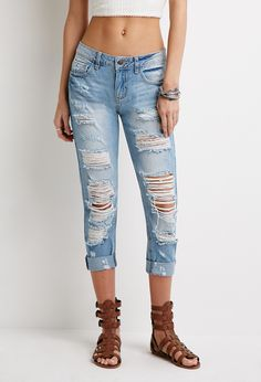 Destroyed Low-Rise Jeans | Forever 21 - 2000053360