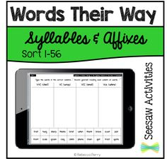 Seesaw Activities - Words Their Way - Syllables & Affixes - Sort - Digital Resource - Paperless Classroom - Seesaw App - Seesaw Ideas Word Patterns, Spelling Patterns, Seesaw App, Word Work Activities, Classroom Activities, Trust Quotes, Word Sorts, Rhyming Words, Syllable