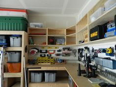 My DIY cabinets/shelves - The Garage Journal Board. I want this in my garage! Diy Overhead Garage Storage, Garage Wall Storage, Garage Shelving, Garage Shelf, Garage Organization, Diy Storage, Storage Ideas, Organization Ideas, Shelving Ideas