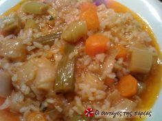 Rice with leeks (prasorizo) Vegetarian Recipes, Snack Recipes, Healthy Recipes, Healthy Meals, Snacks, Cookbook Recipes, Cooking Recipes, Greek Rice, English Food