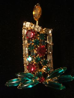 RARE Old Christmas Candle Pin Signed Kramer | eBay