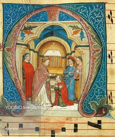 Illuminated initial capital letter M, portraying the sacrament of Confirmation, Turone, ca1360, manuscript, Italy 14th Century.