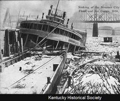 "Sinking of the steamer ""City of Louisville,"" Flood & Ice gorge, Cincinnati, Oh., 1918. :: Ohio River Portrait Project"