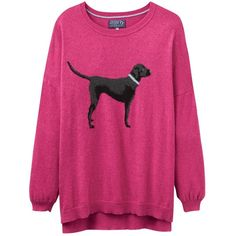 Joules Meryl Labrador Intarsia Jumper, Raspberry (£70) ❤ liked on Polyvore featuring tops, sweaters, patterned tops, jumpers sweaters, pink top, long sleeve jumper and long sleeve tops