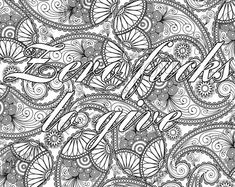 """Coloring Page The swearing words """"Zero fuks to give"""" Doodles - 2 background white and black swear word by PicToGraphique on Etsy"""
