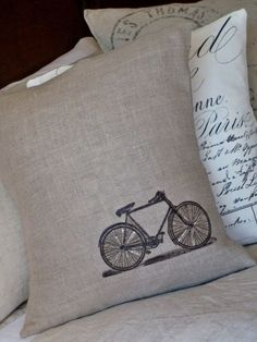 Belgian Linen Vintage Bicycle pillow cover by Jolie Marche.