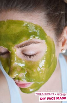 Moisturize and replenish your skin with this soothing DIY Wheatgrass and Honey Face Mask. This homemade face mask is SO easy to make, only 2 ingredients!