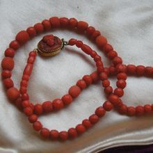 Faceted Coral Necklace With Georgian Coral Cameo Clasp