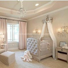 15 Cutest Baby Girl Nursery Room Ideas (pink & girly) Every mother dreams about decorating her baby girls' nursery. When you think of a baby girl nursery room most people think pink and girly. Today, that's exactly what I'm going to give you. Baby Nursery Decor, Baby Bedroom, Baby Decor, Girls Bedroom, Baby Rooms, Bedrooms, Elegant Baby Nursery, Nursery Room Ideas, Nursery Ideas For Girls