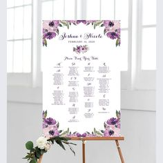 Wedding Seating Chart By Table Various Sizes Vintage Cream Roses, Blush Roses, Seating Chart Wedding, Seating Charts, Wedding Programs, Wedding Signs, Purple Flowers, Floral Flowers, Bridal Decorations