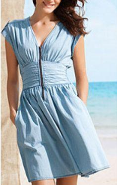 Light Blue V-neck A-line Denim Short Sleeve Dress