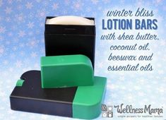 These winter bliss lotion bars combine skin nourishing ingredients like shea butter, coconut oil and beeswax with essential oils of lavender, orange & mint.