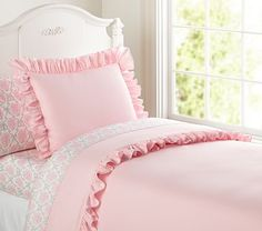 Ruffle Duvet Cover, Full/Queen, Pink