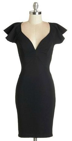 little black dress with flutter sleeves