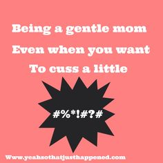 Being a gentle mom, even when you want to cuss a little... - Yeah...So That Just Happened...