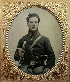 A very nice sixth plate tintype of a federal cavalryman. Dressed in a regulation cavalry jacket with eagle waist plate. He grasps his sword in one hand and carries a pinfire revolver tucked into his belt. You can see the cap box for it to the right of the belt plate. Extremely nice looking cavalry image. It does have a little flake of emulsion missing at the very bottom on his pant leg but otherwise fine. It does come in a half leatherette case.