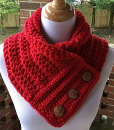 Red Boston Harbor Scarf with Buttons, Handmade crochet cowl, Warm and soft neck warmer in Holly Berry color, Valentine's Day Gift – Knitting Scarf Crochet Scarves, Crochet Shawl, Crochet Clothes, Crochet Stitches, Knit Crochet, Chunky Crochet Scarf, Doilies Crochet, Crochet Granny, Crochet Cowl Free Pattern