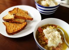 Ham and Pea Soup.  Yummy with a poached egg or greek yogurt topping!