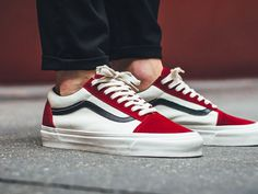 Vans Vault Old Skool LX - Red Dahlia - 2017 (by titolo) Vans Sneakers, Mens Vans Shoes, Converse Sneaker, Sneakers Mode, Custom Sneakers, Custom Shoes, Sneakers Fashion, Fashion Shoes, Vans Outfit Men