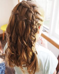 For the cutest junior bridesmaid ever I created a double waterfall braid. She asked for curls like her mum too #curlyhairromance #hairromance