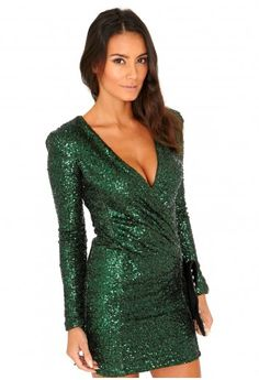 Missguided - Felicite Premium Sequin Cross Over Dress In Deep Green