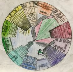 Objective: Students will create a color wheel using one point perspective, accurate color placement and value CA Art Standards. One Point Perspective, Perspective Art, Elements Of Art Color, Color Wheel Projects, Circle Drawing, Elementary Art Rooms, Middle School Art Projects, Art Assignments, 5th Grade Art