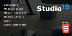 Studio 19 - Creative Agency HTML Template . Studio 19 is a clean, modern and functional HTML template perfect for creative agencies including web agencies, graphic design agencies, marketing agencies and digital agencies. The template comes complete with the following