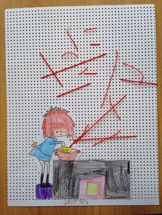 Floddertje en de tomatensoep. Tomatensoep borduren met oranje plastic rijgdraad voor de jongsten ( dan heb je geen naald nodig) de oudsten kunnen wel met katoen en naald. Door Ingrid den Hollander, Meppel