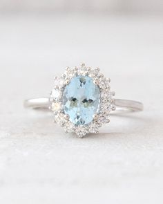 Aquamarine Ring Oval and Diamond Halo Setting Aquamarine Engagement Ring 14K White Yellow Rose Gold Bridal Jewelry