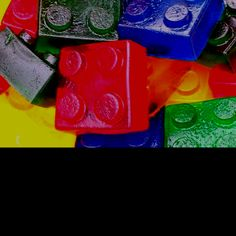 Use duplo blocks as jelly moulds for Lego party