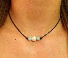 Leather Pearl Choker with Amazonite by AlliesCharms on Etsy.