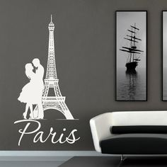 Eiffel Tower Wall Decal Paris Wall Decals Vinyl by FabWallDecals
