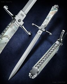 """Maker: Jason Fry Website: frycustomknives.com Blade Length: 9"""" Overall Length: 13 3/4"""" Blade Material: 154 CM at RC 60 Fittings, Frame, Liners, Bolsters: 416 Stainless Steel Handle Scales: Mother of pearl, nickel silver pins"""