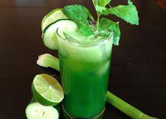 1/4 Honeydew Melon; 2 celery stalks; 1/2 cucumber; 1/2 lime; 1 handful mint.