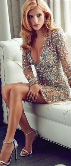 Who made Bella Thorne's silver sequin dress and ankle strap sandals?