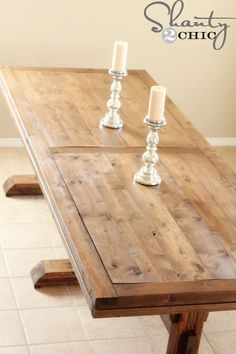 DIY Dining Table ~ Triple Pedestal Farmhouse (Diy Furniture Farmhouse)