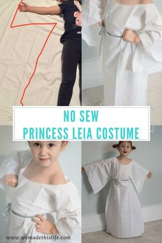 No sew princess leia costume. Perfect costume for star wars fans on world book day. Really easy to make, no sewing needed!