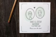 Oh So Beautiful Paper: Annie + Jeremy's Illustrated Portrait Save the Dates