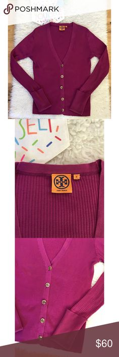 """EUC Tory Burch Ribbed Cotton Stretch Knit Cardigan In great pre-loved condition Tory Burch rubbed Knit Cardigan in size medium. No major flaws/snags/pilings. In a deep Violet purple color. Classic gold Tory Burch logo buttons., rolled up sleeves, V neckline. Measure about 24.5"""" length, 18"""" pit to pit, 26.5"""" sleeves. ❌Last two pics of model's are for visual aid only. Actual item are the first 6 pics above❌No trades or modeling. Open to reasonable offers. Bundle and save 15%. Thank you‼️ Tory…"""