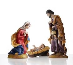 Beautiful Holy Family set made of fiberglass in traditional colors. Size 24""