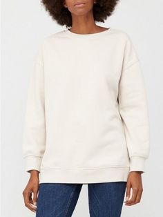 V by Very The Essential Long Line Crew Neck Sweat - Stone | littlewoodsireland.ie The Essential, High Leg Boots, Line, Dress Outfits, Fitness Models, Crew Neck, Essentials, Pullover, Sweatshirts