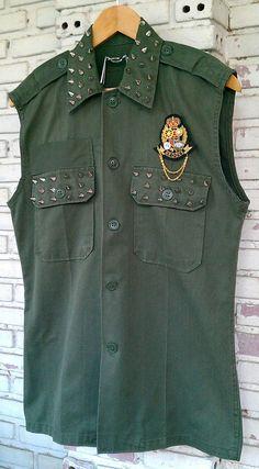 Reworked Studded Vintage Green Army Vest / by KodChaPhornJacket465