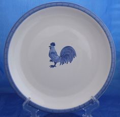 It features a blue rooster and a blue rim around the outside edge. FOLKCRAFT STONEWARE MORNING FARM BLUE ROOSTER | Can Do Collectibles on eBay!