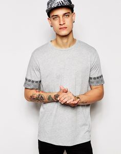 ASOS T-Shirt With Aztec Sleeves And Relaxed Skater