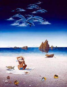 Robert Lyn Nelson (B.1955) SUMMER ILLUSION 1990 Acrylic/Canvas 24x36  #surrealism #art #painting #ocean  @robertlynnelson.com