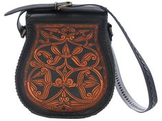 hungarian leather bag. 23 cm top, 29 cm bottom, 30 cm high, 13 cm thick