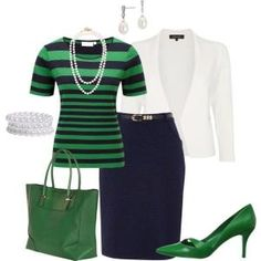 """Navy green and white"" work outfit Classy Outfits, Casual Outfits, Cute Outfits, Fashion Outfits, Womens Fashion, Fashion Trends, Latest Fashion, Business Mode, Business Attire"